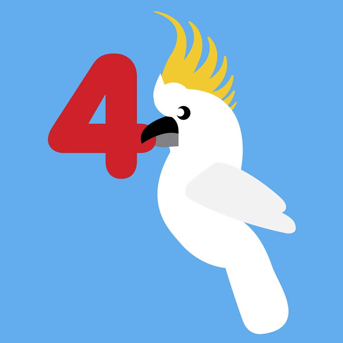 4 years old Cockatoo Birthday card   Trada Marketplace