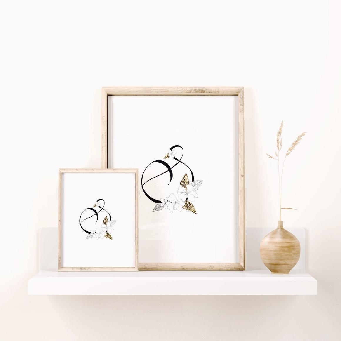 Lettering S With Light Plumeria - B & W Art Print With Gold Flake   Trada Marketplace