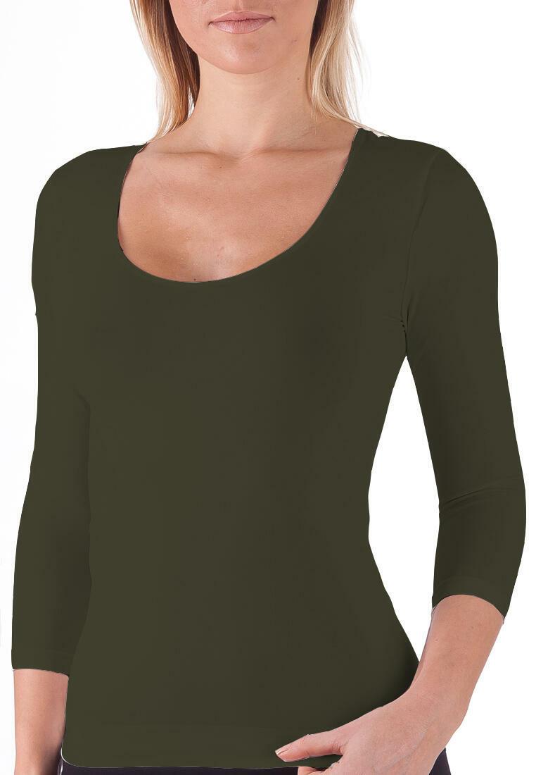 Seamless 3/4 Sleeve Scoop Neck Top - Khaki | Trada Marketplace