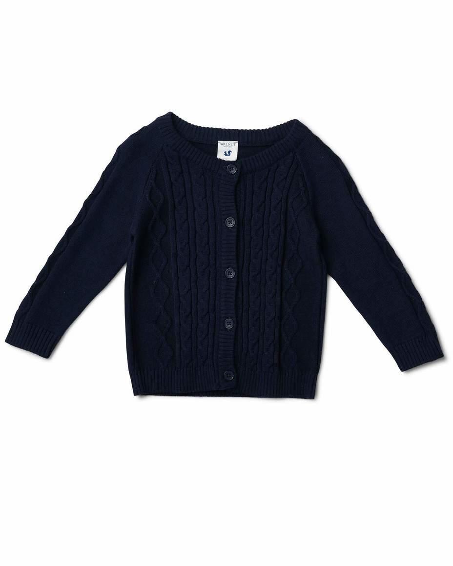 Bodhi Cable Knit Cardigan Navy | Trada Marketplace