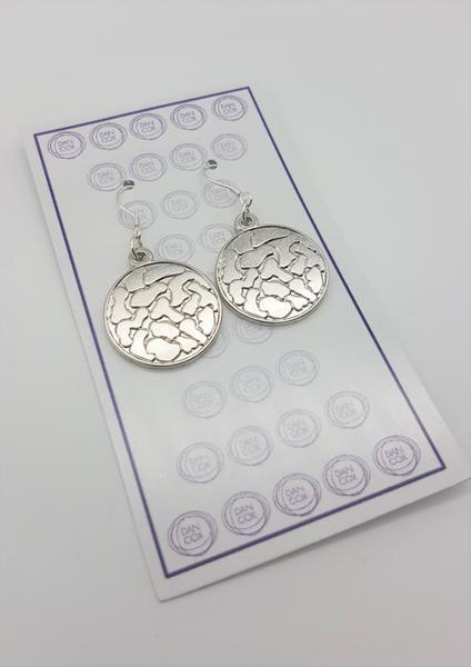 Octo Round Silver Plate Alloy Earrings Stainless Steel Hooks  | Trada Marketplace