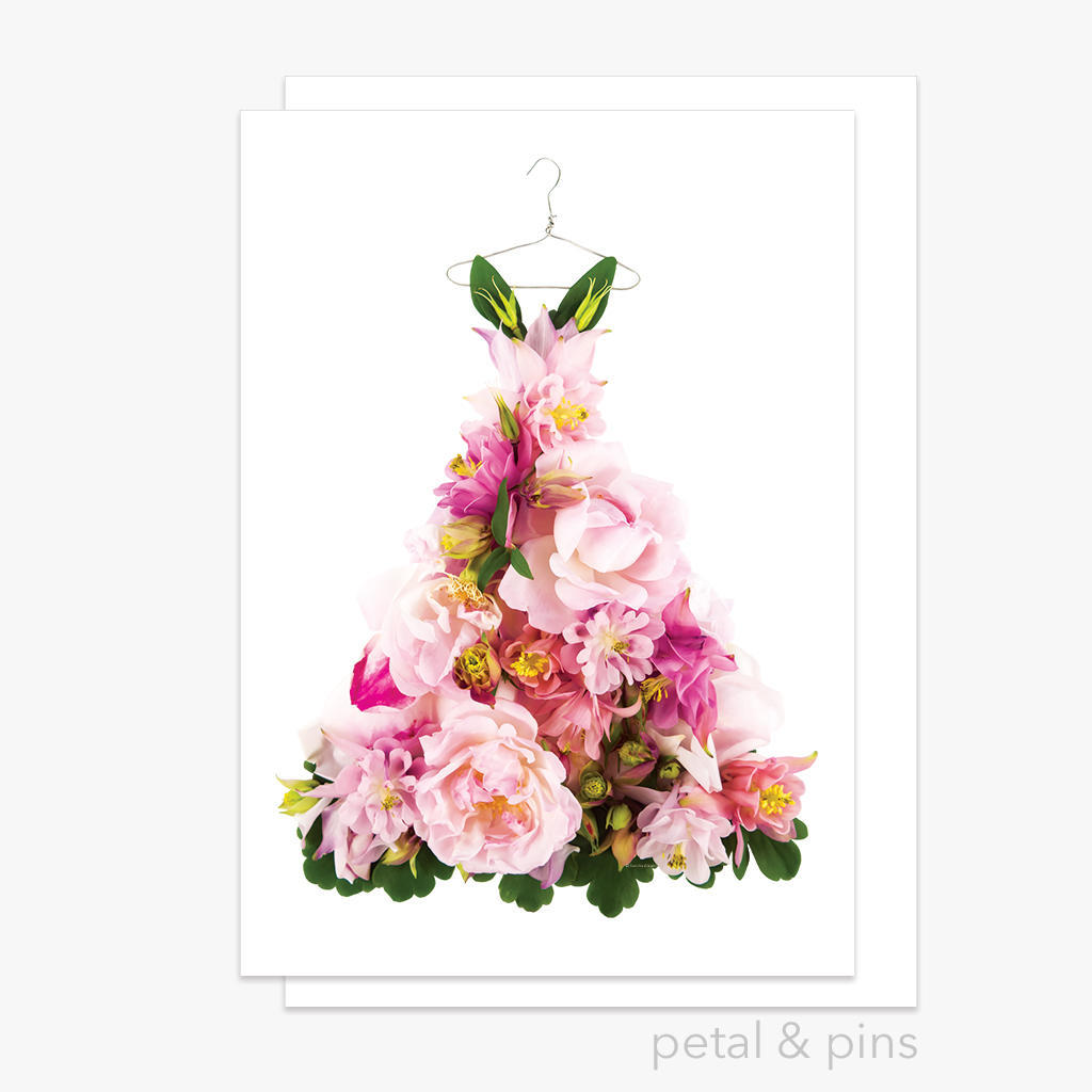 aquilegia & rose dress greeting card | Trada Marketplace