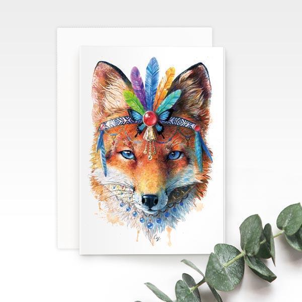 Bohemian Fox Greeting Card | Trada Marketplace