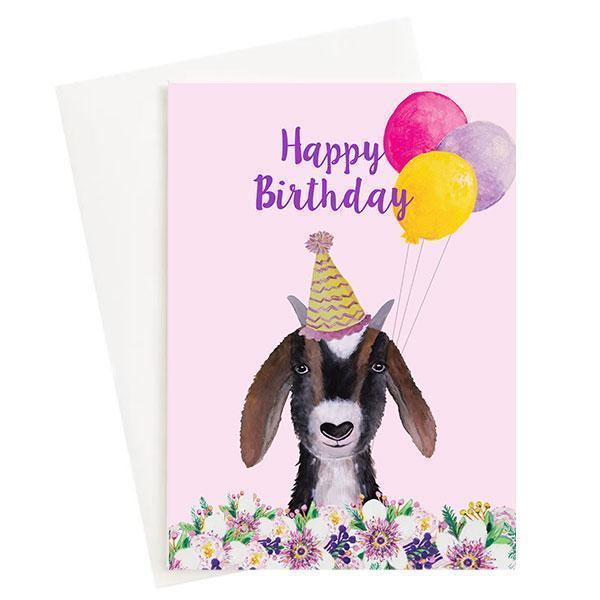Happy Birthday Goat Greeting Card Pink   Trada Marketplace