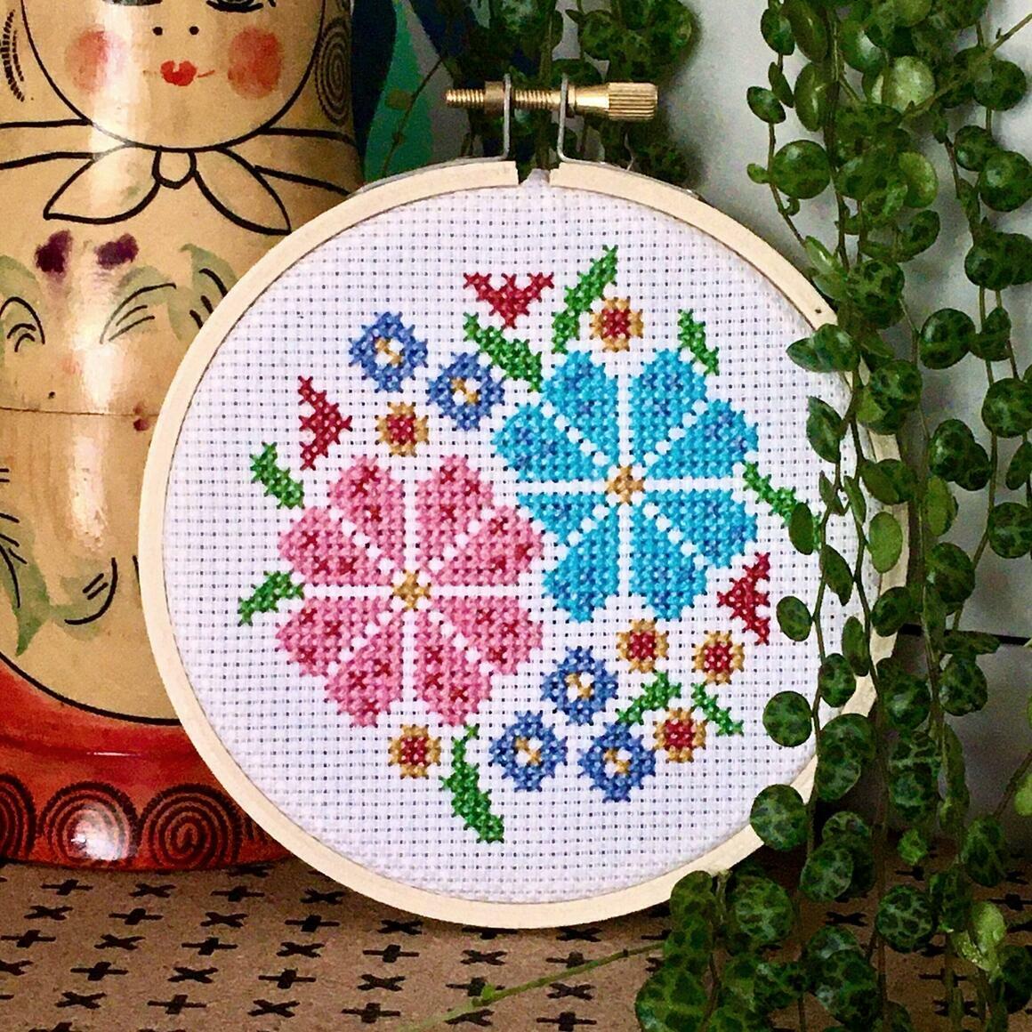 Flower posy cross stitch kit   Trada Marketplace