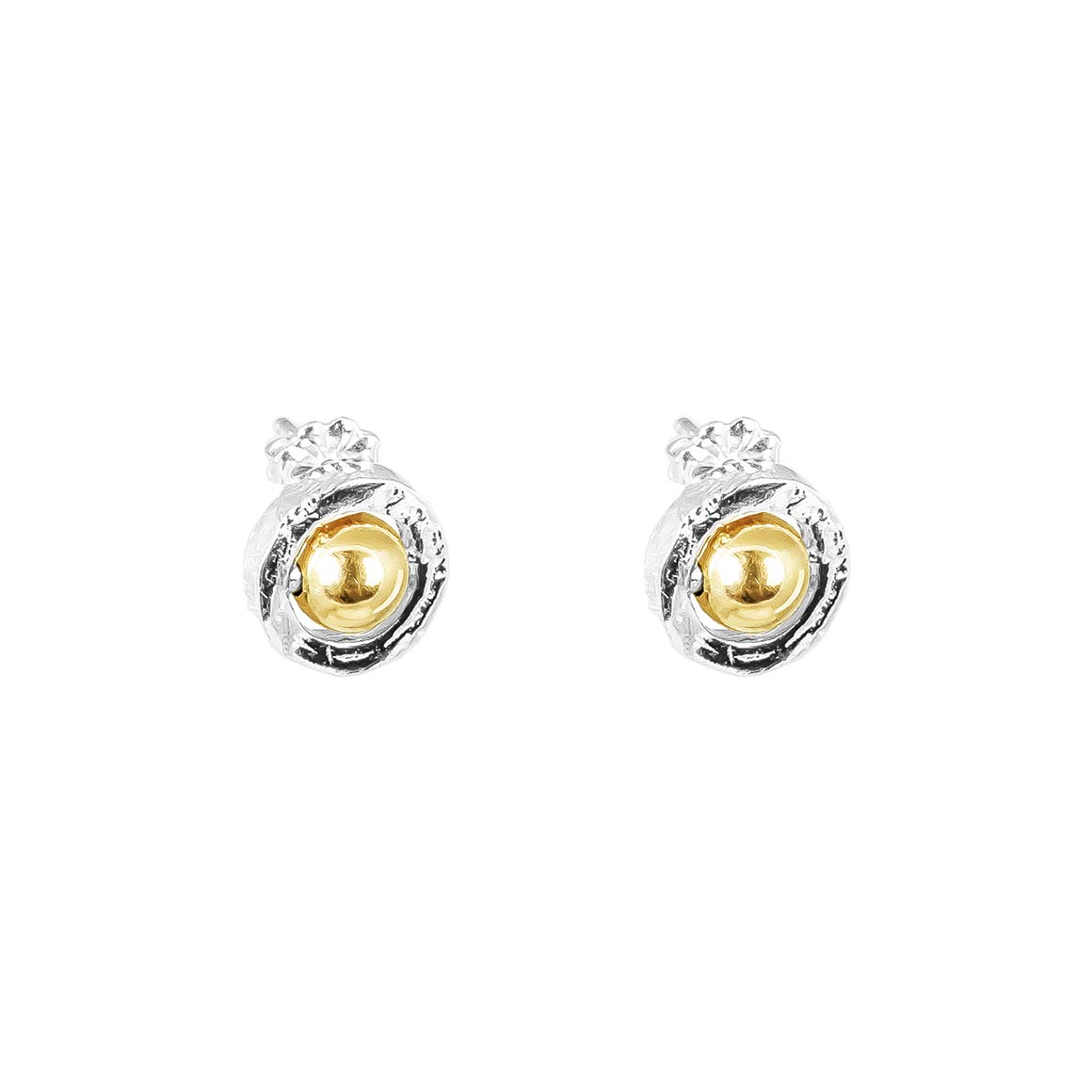 Atticus Fine Stud Earrings | Polished Gold Detail | Trada Marketplace