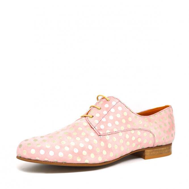 Poppy: Pink Suede Polka Dot Derby   Trada Marketplace