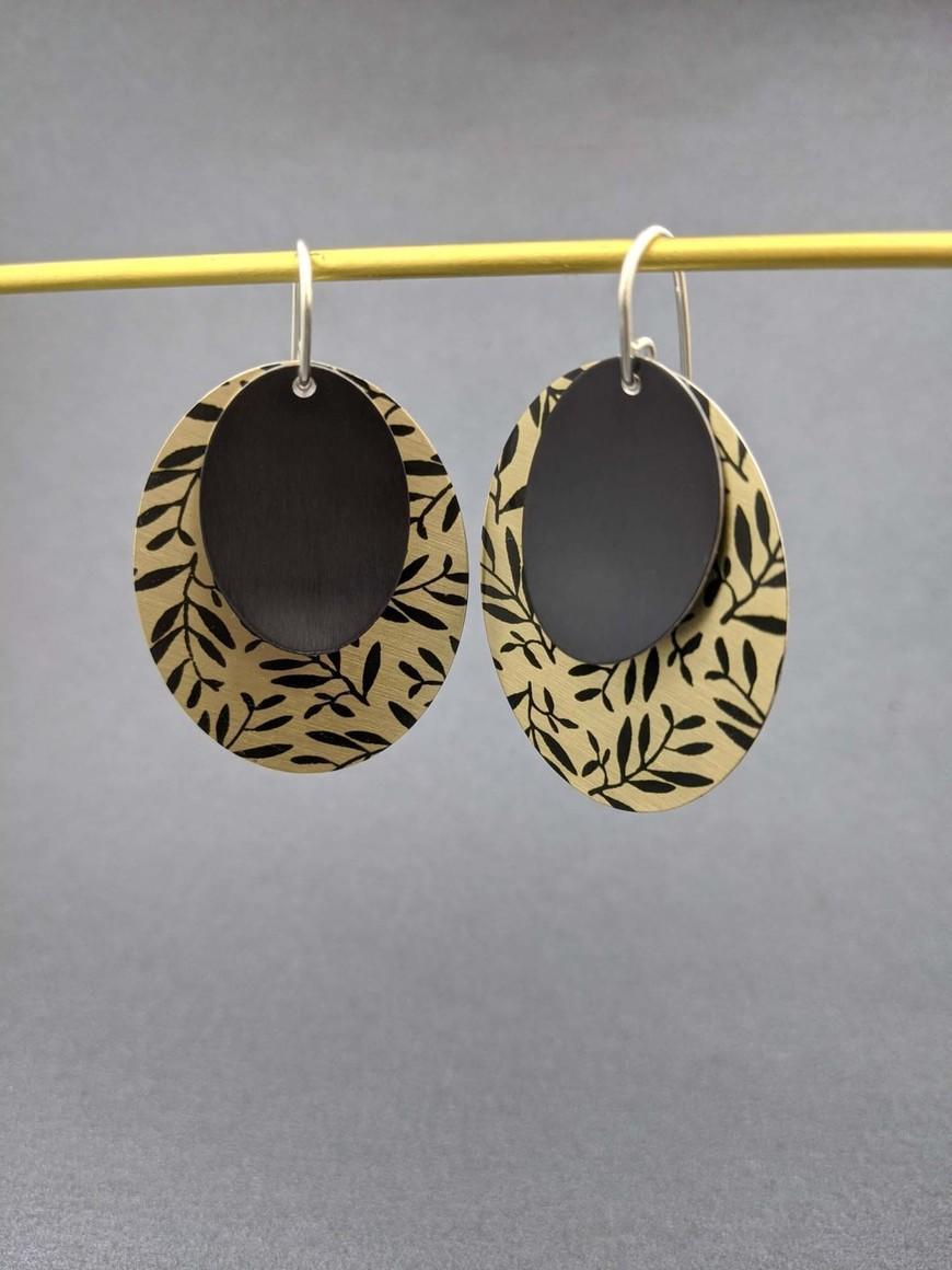 FOLIAGE - large double oval earrings GOLD   Trada Marketplace