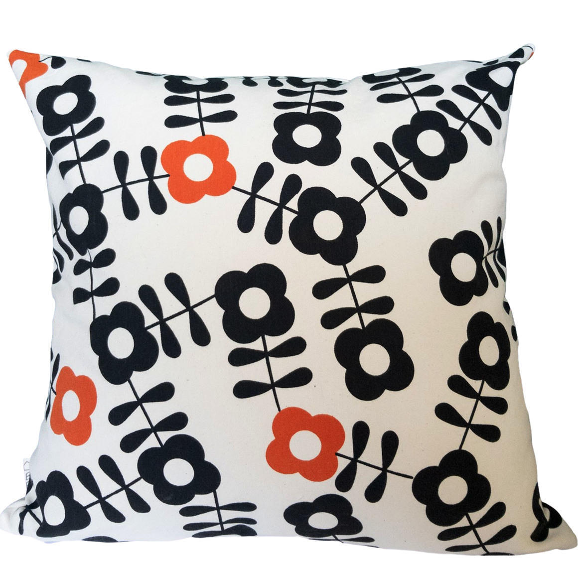 Black and Orange Vintage Inspired Floral Design-100% Cotton-Hand Screen Printed-Cover Only | Trada Marketplace