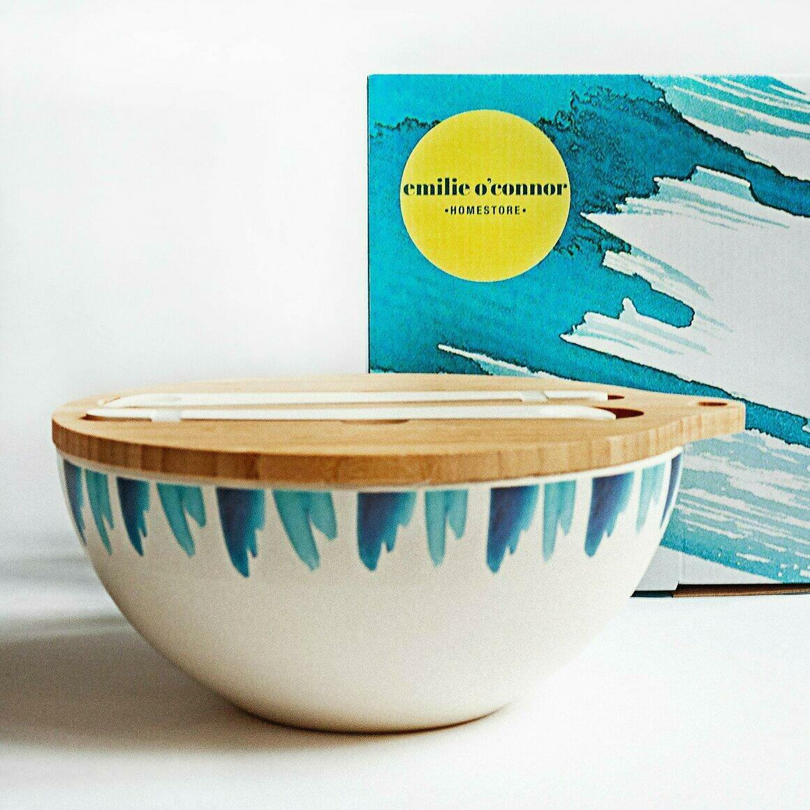 Bamboo serving bowl decorated with Blue Wave Design | Trada Marketplace