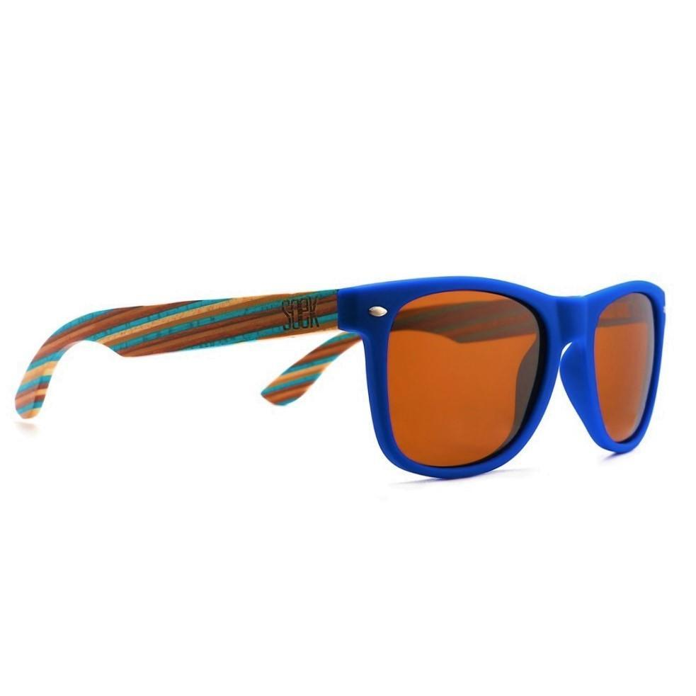 BRONTE - Blue Sustainable Polarized Sunglasses with Blue Wooden Striped Arms - Adult | Trada Marketplace