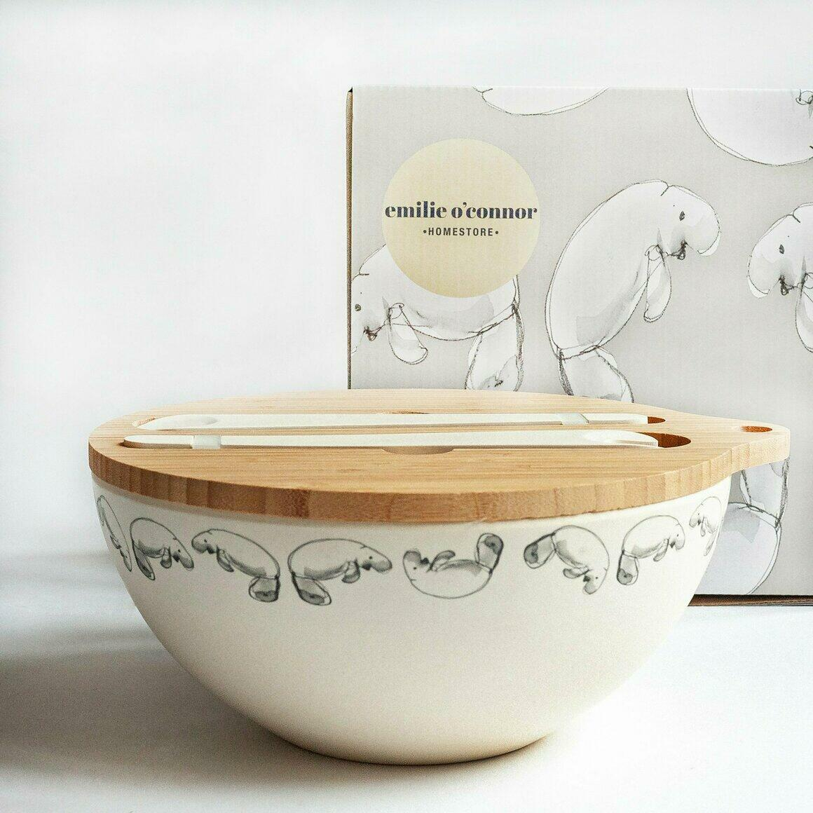 Bamboo Serving Bowl With Dugong Design | Trada Marketplace