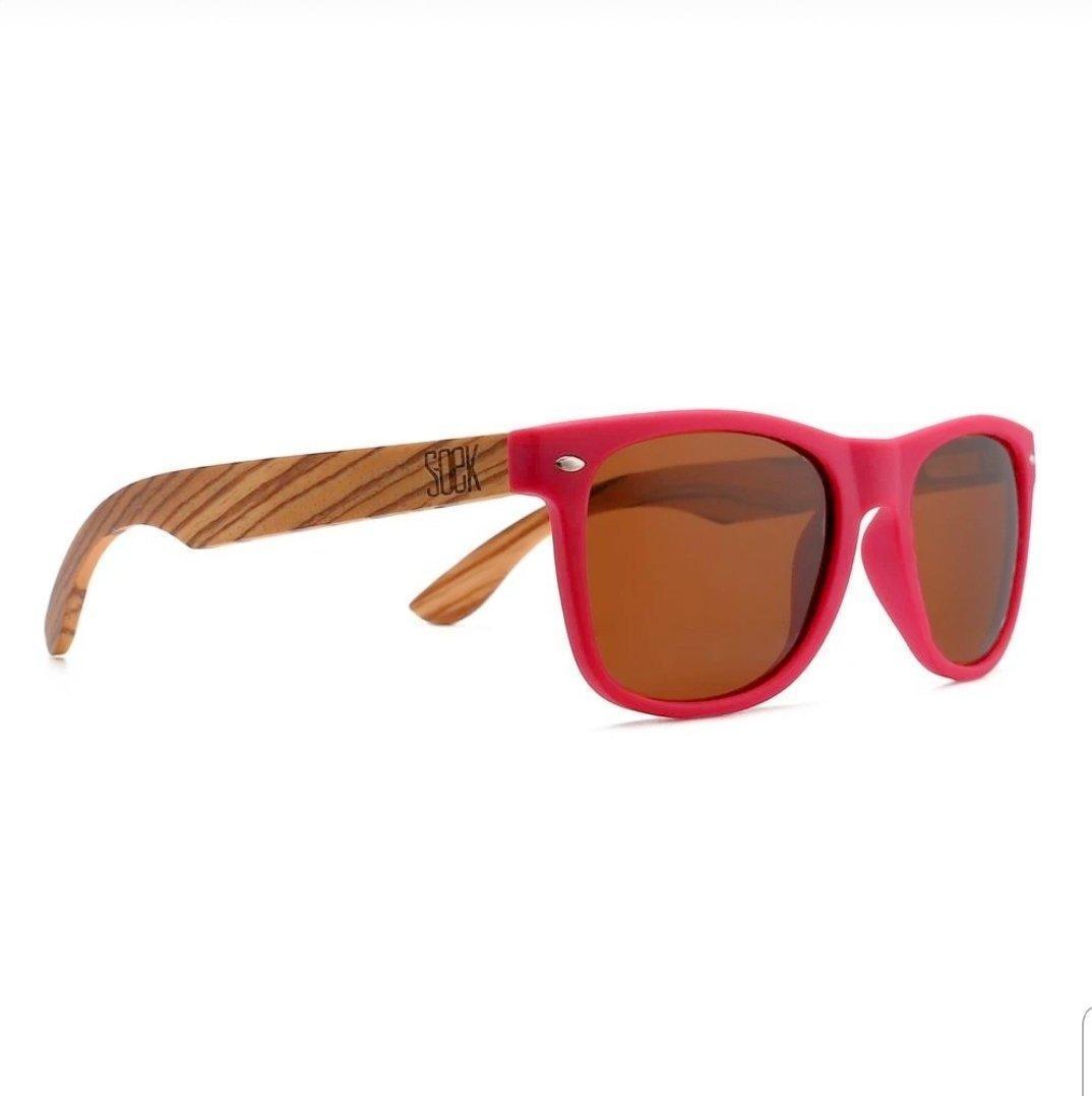 BRIGHTON - Magenta Sustainable Polarized Sunglasses with Walnut Wooden Arms  - Adult | Trada Marketplace