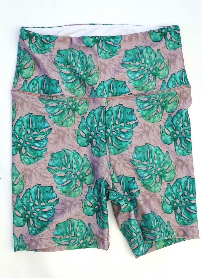 Bike Shorts- Tropical Leaf Mauve   Trada Marketplace