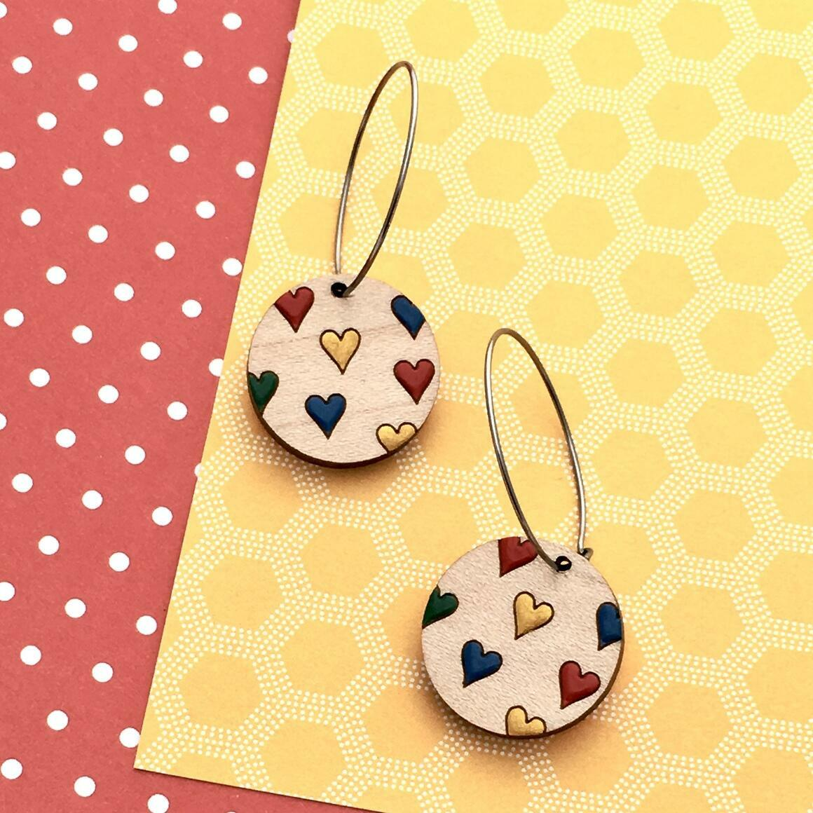 Everyday Confetti Mini Hoop Earrings - Hearts   Trada Marketplace