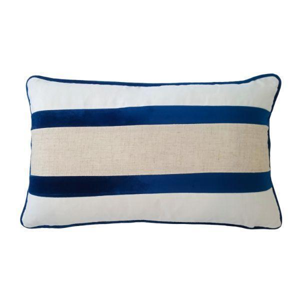 CALDER Dark Blue and Jute Double Strip Velvet Cushion Cover 30 cm by 50 cm   Trada Marketplace