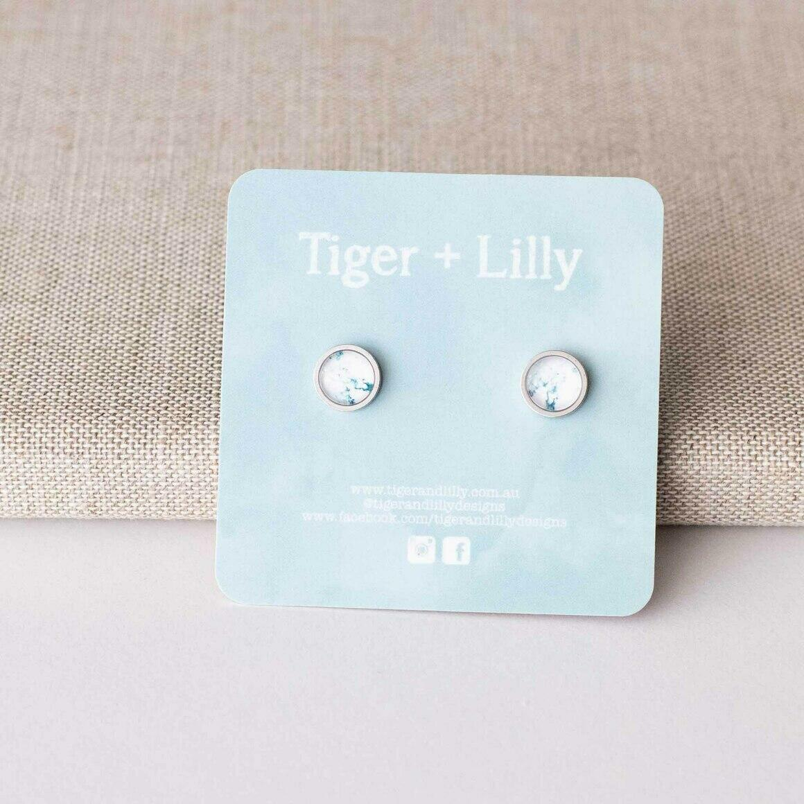 White Marble Studs - Stainless Steel | Trada Marketplace