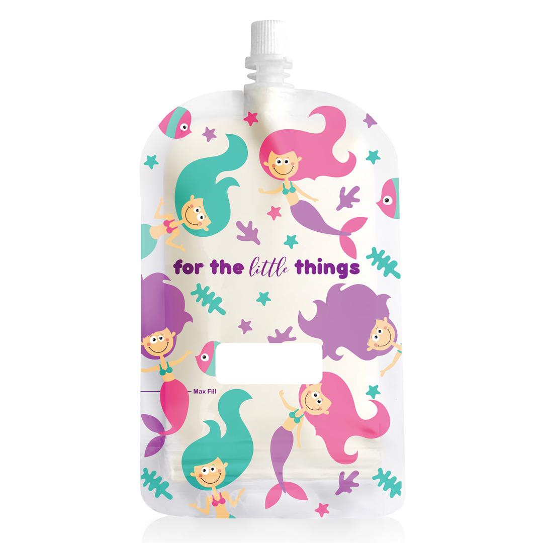 200ml Reusable Food Pouch - Mermaids Print (10 pack) | Trada Marketplace