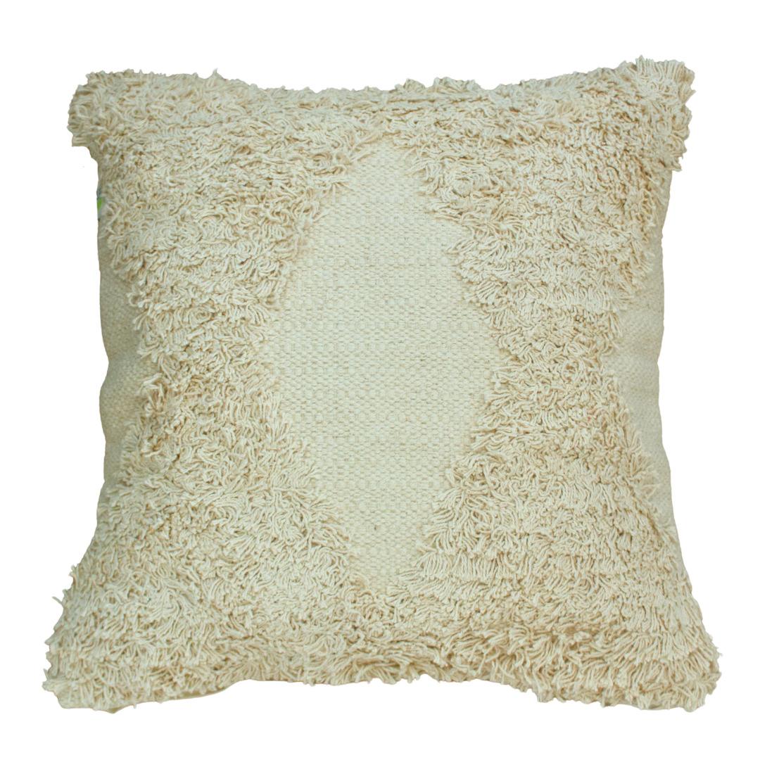 Shvet White Textured Tufted Cotton Cushion Cover | Trada Marketplace