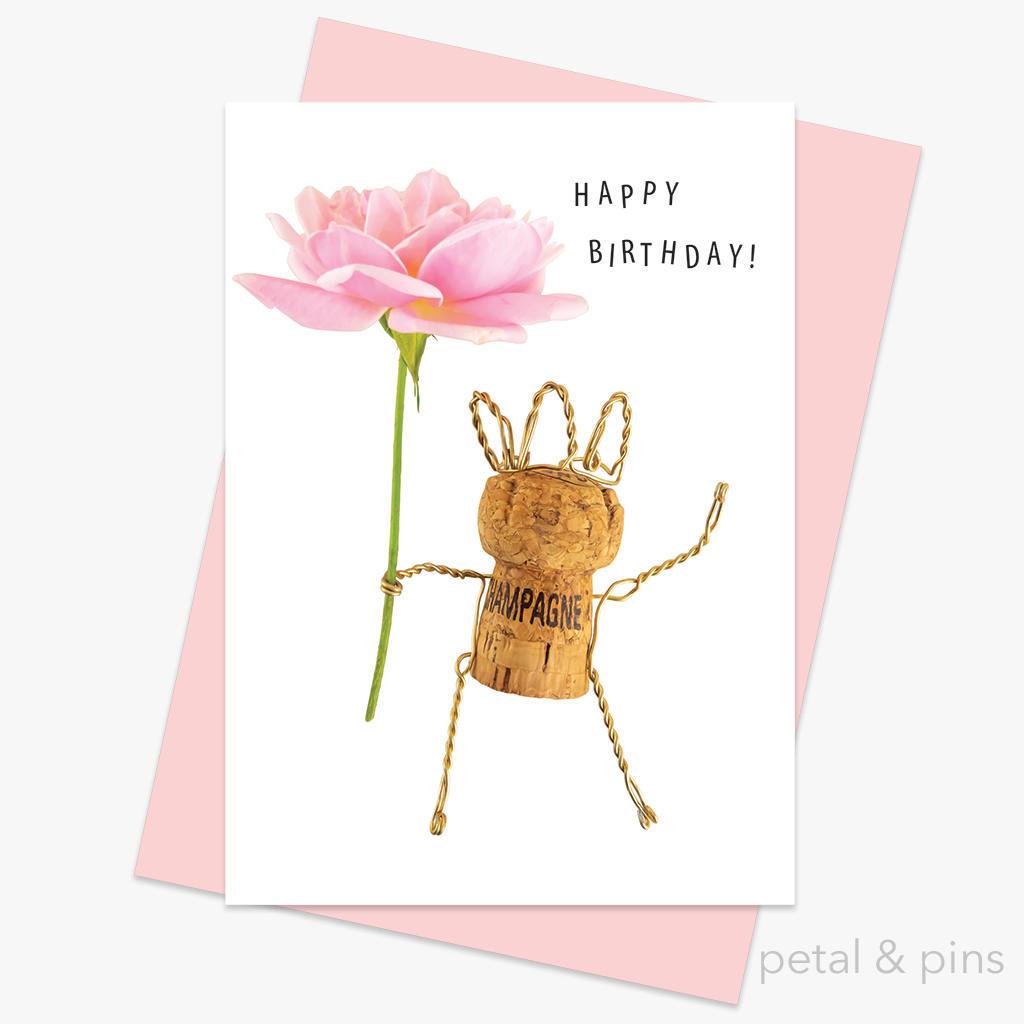 champagne girl happy birthday card | Trada Marketplace