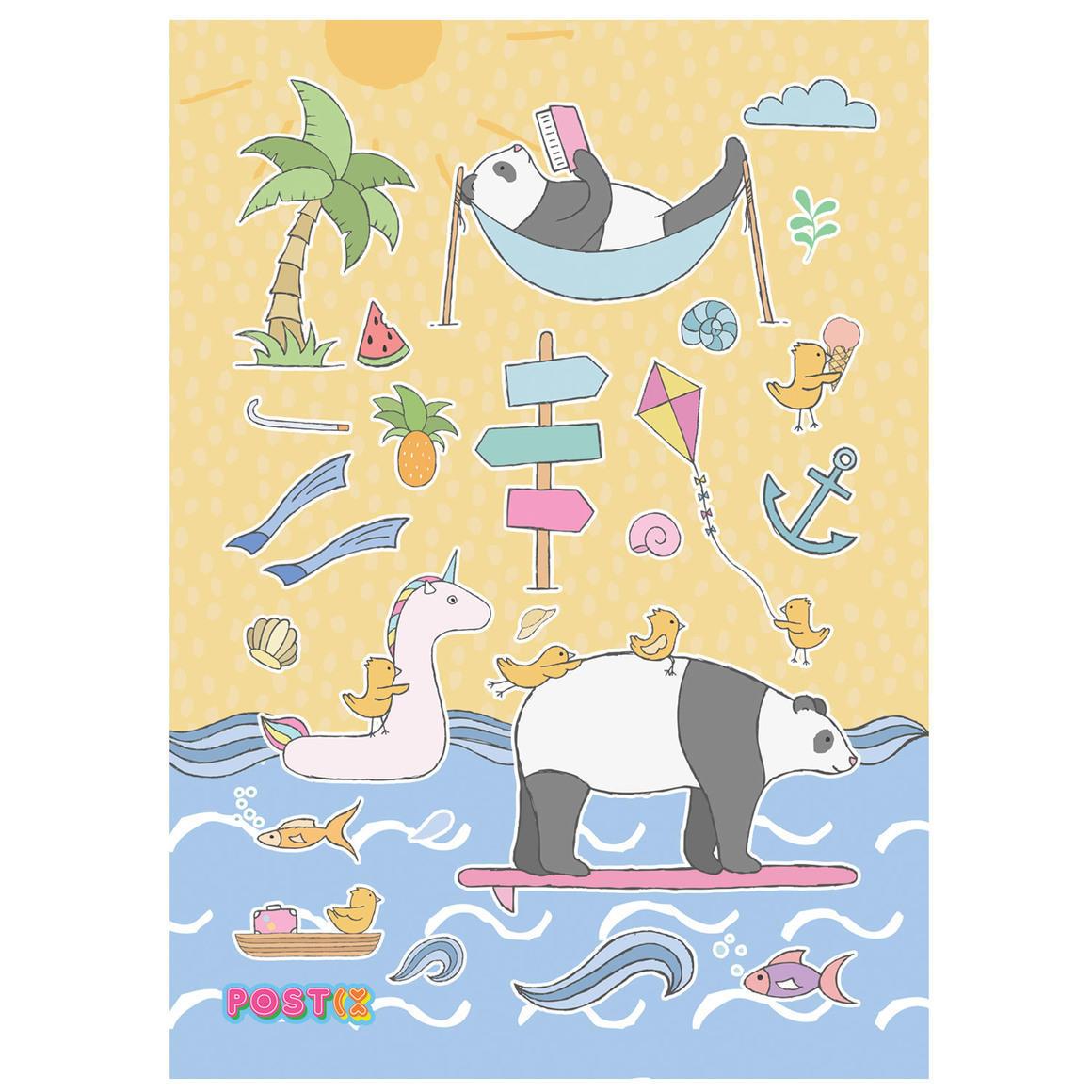 PANDAS BEACH DAY A6 GLOSSY STICKER SHEET   Trada Marketplace