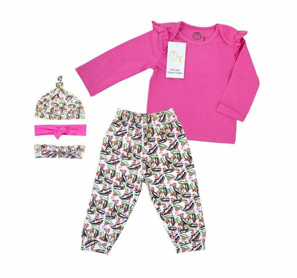 Organic tots Organic Cotton pink outfit 5pc   Trada Marketplace