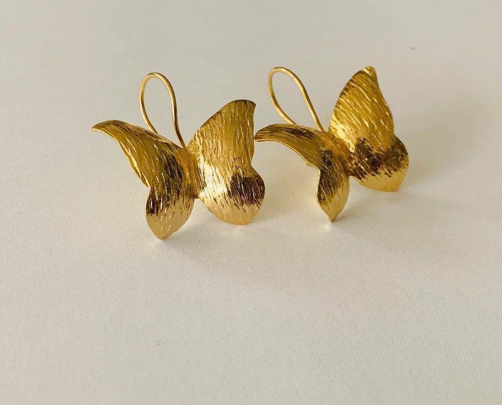 Mariposas Amazonicas / Wild Butterfly Earrings (gold) | Trada Marketplace