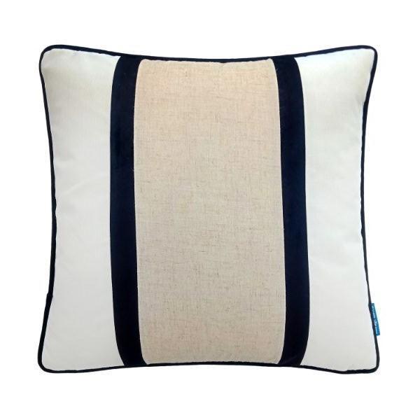 CALDER Black and Jute Double Strip Velvet Cushion Cover 50 cm by 50 cm   Trada Marketplace