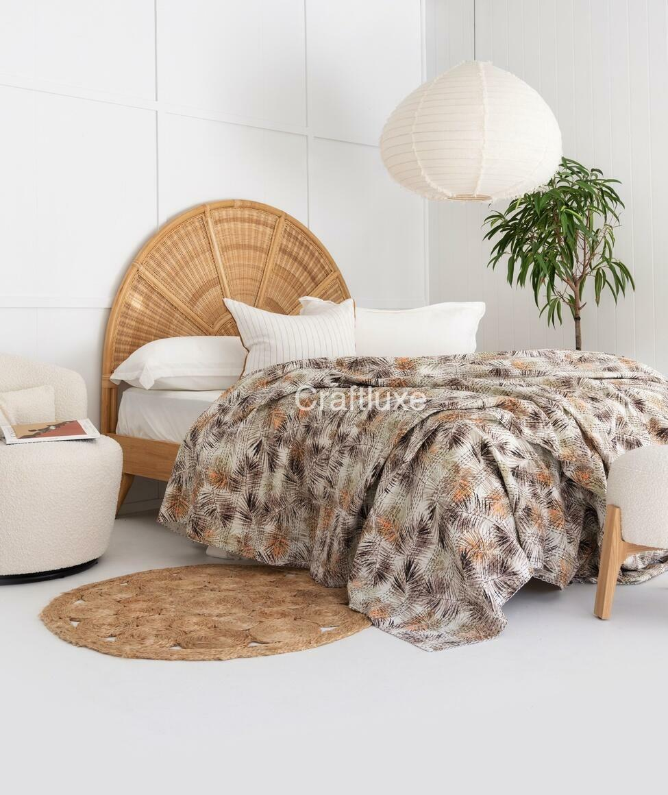 KANTHA QUILT TROPICAL LEAVES | Trada Marketplace