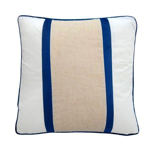 CALDER Dark Blue and Jute Double Strip Velvet  Cushion Cover 50 cm by 50 cm   Trada Marketplace