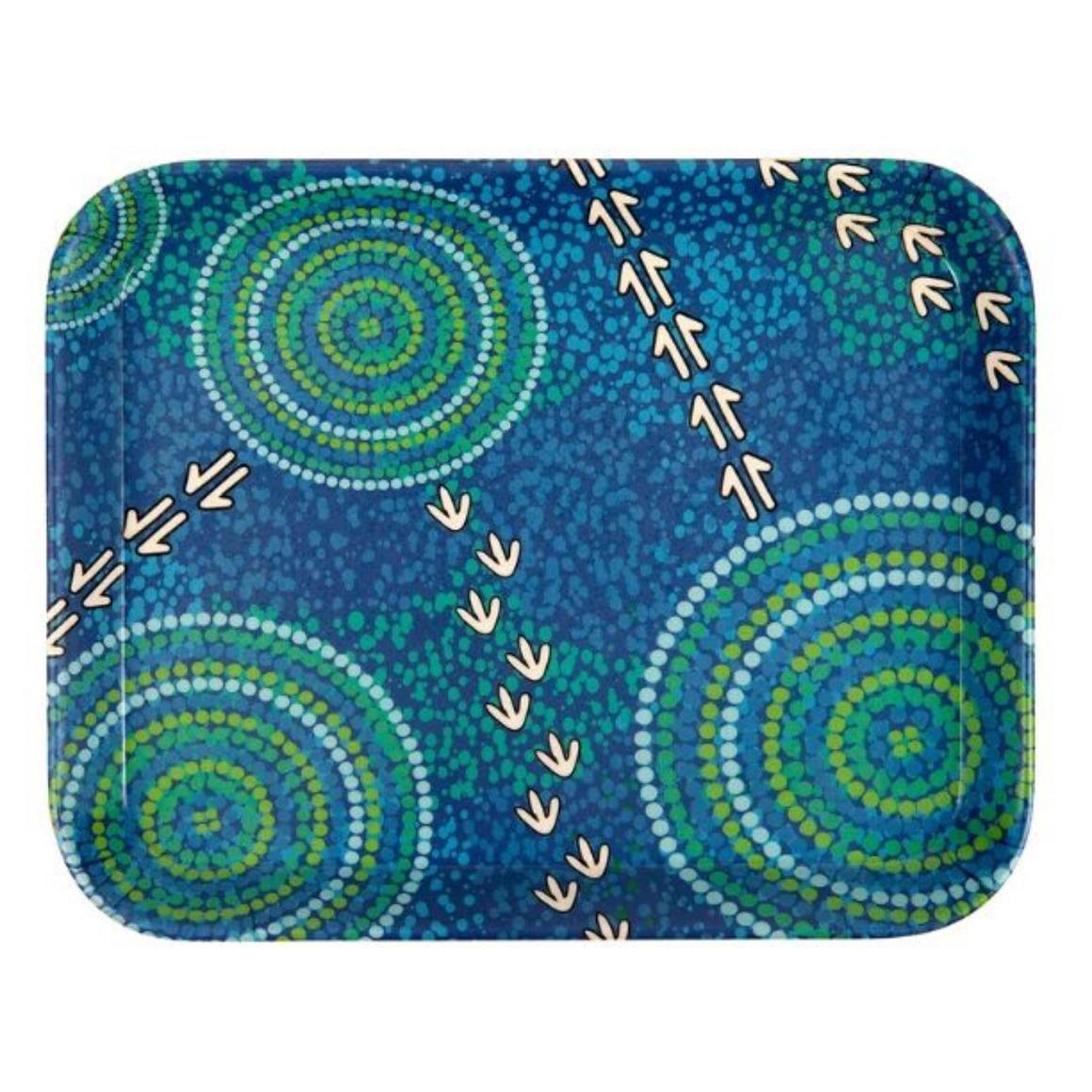 "Tray Bamboo Aboriginal Design   7.5"" - Wet Design - Luther Cora     Trada Marketplace"
