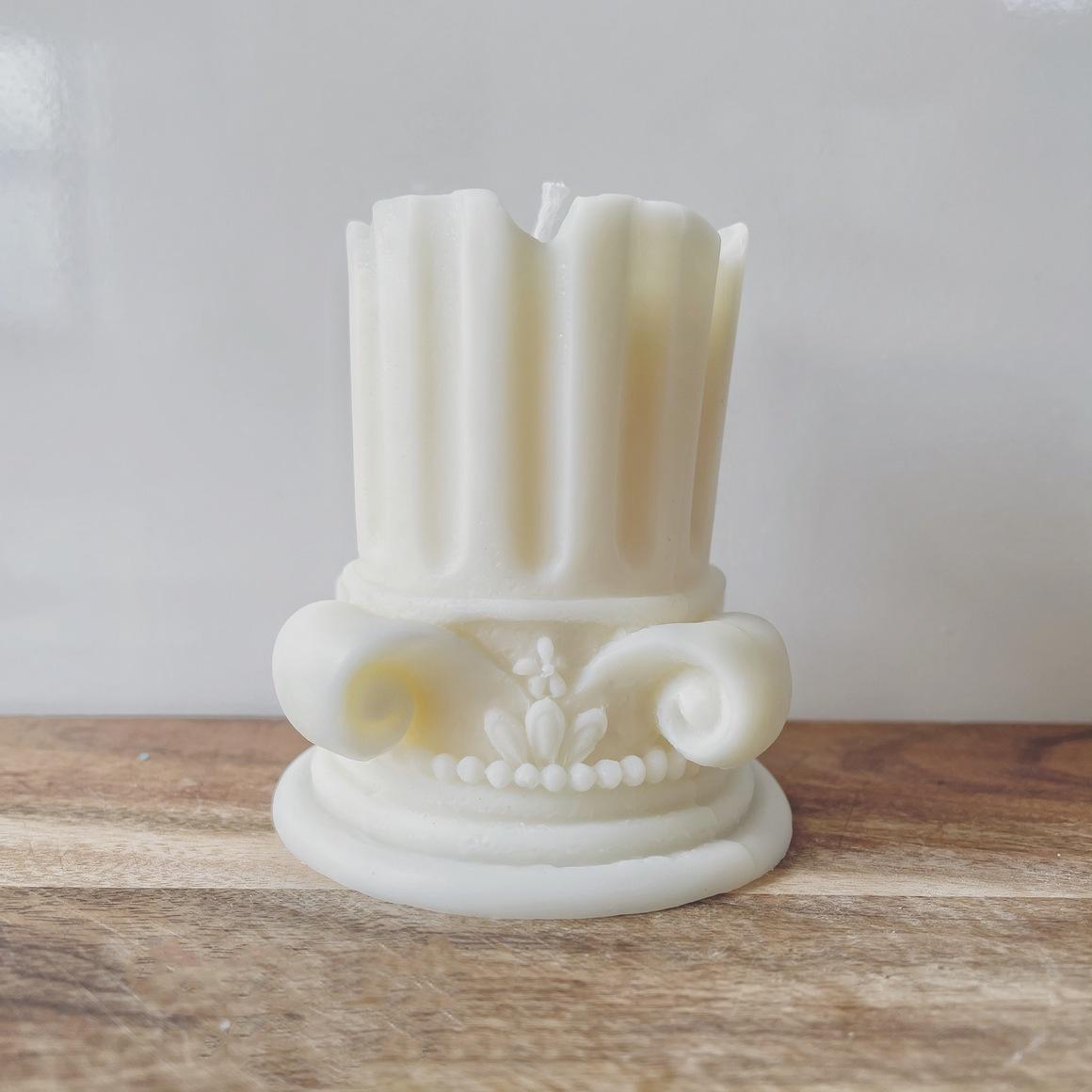 Creamy White    Broken Roman Pillar Candle   Trada Marketplace