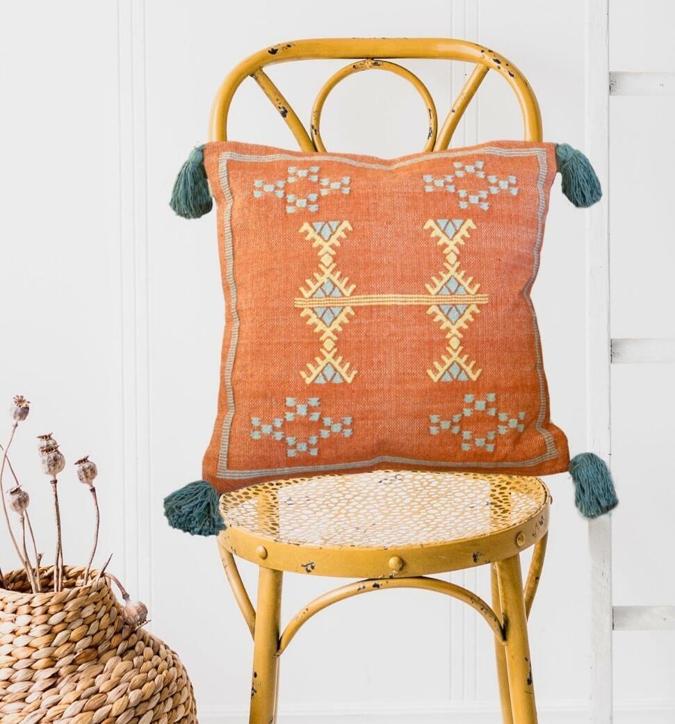 Śoṇaḥ Burnt Orange Rustic Cactus Moroccan Cushion Cover with Tassels | Trada Marketplace