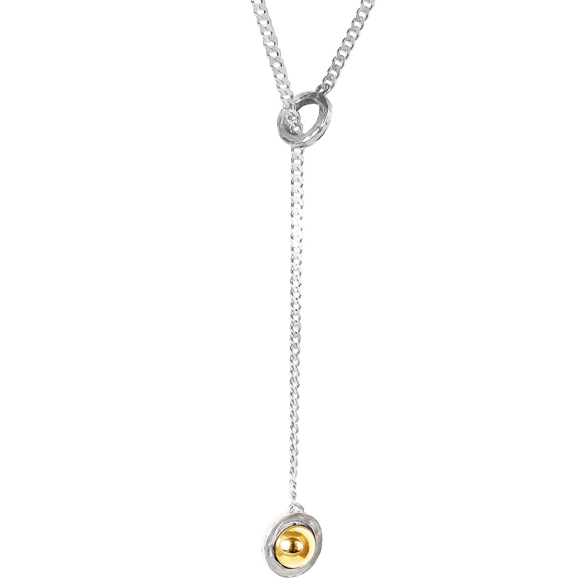 Atticus Large Charm Lariet Necklace   Long | Polished Gold Detail | Trada Marketplace