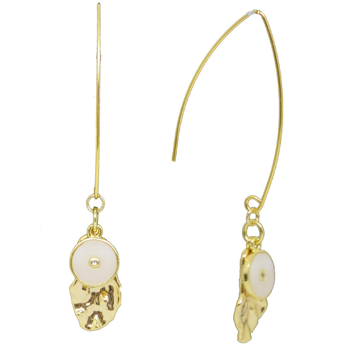 Mother of Pearl CZ long Drop Earrings | Trada Marketplace