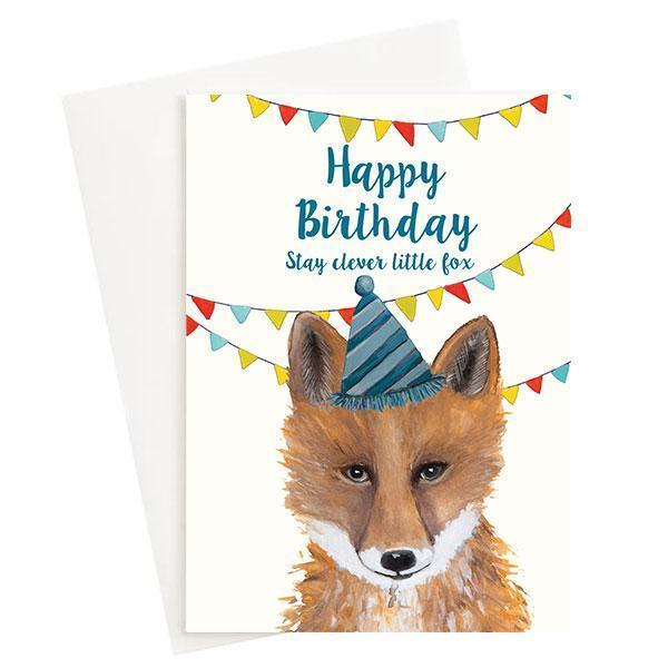 Happy Birthday Stay Clever Little Fox Greeting Card Cream   Trada Marketplace