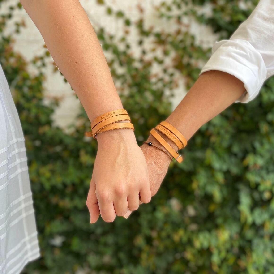 'WARRIOR' - Power Of Words Leather Bracelet - Tan | Trada Marketplace
