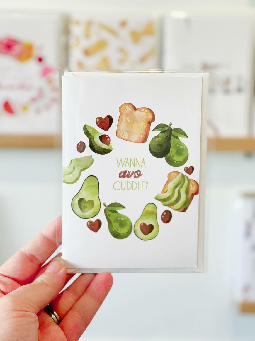 Wanna Avo Cuddle? Greeting Card   Trada Marketplace