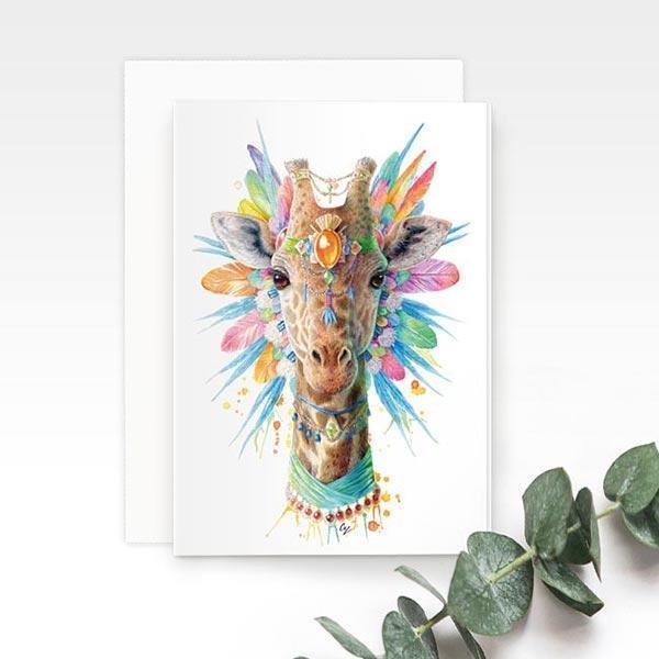Bohemian Giraffe Greeting Card | Trada Marketplace