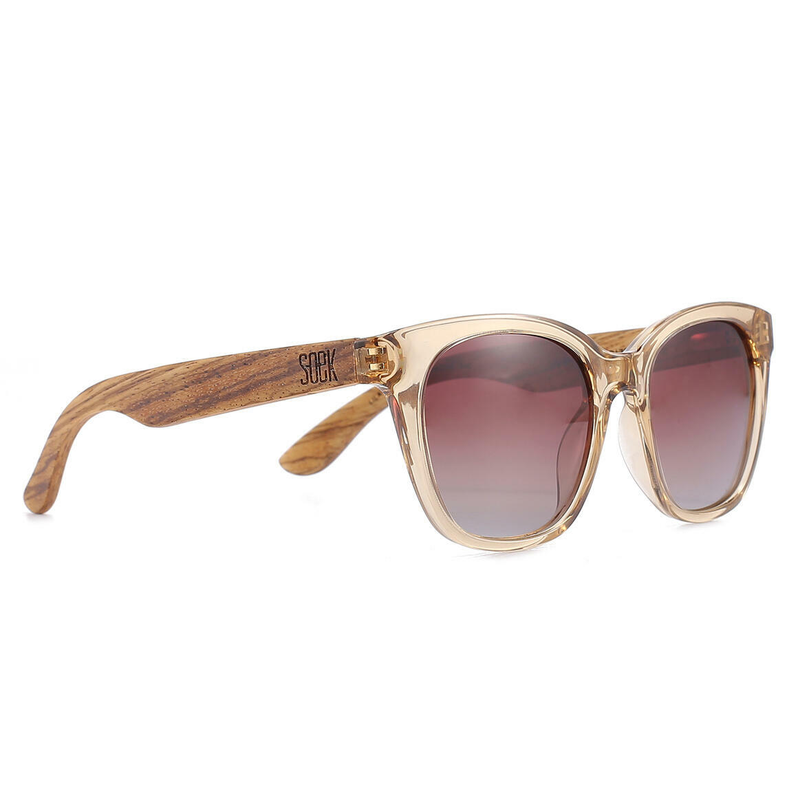 LILA GRACE CHAMPAGNE - With Brown Graduated Tinted Polarized Lens and Walnut Arms - Adult | Trada Marketplace