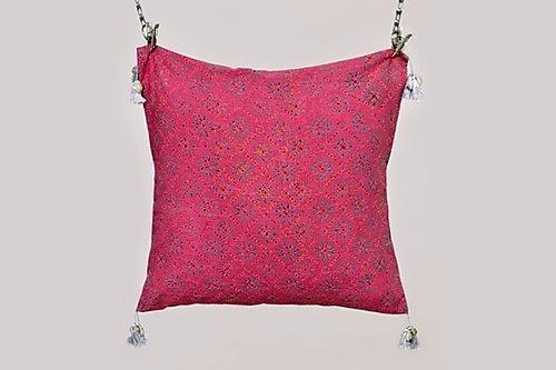 Asiyah Pink Block Printed Cushion | Trada Marketplace