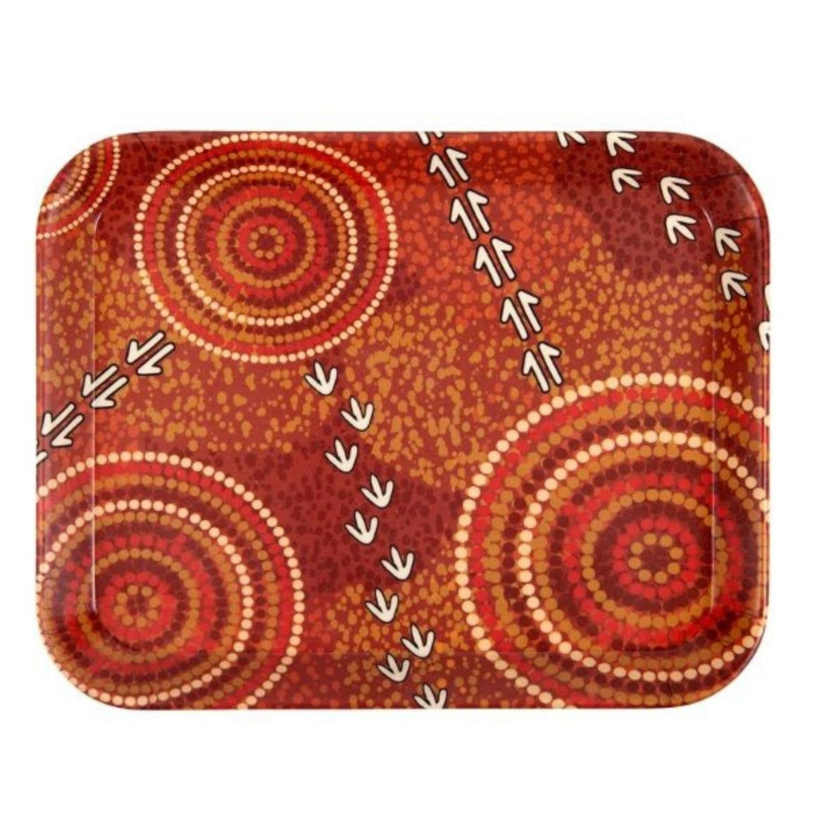 "Tray Bamboo Aboriginal Design   7.5"" - Dry Design - Luther Cora     Trada Marketplace"