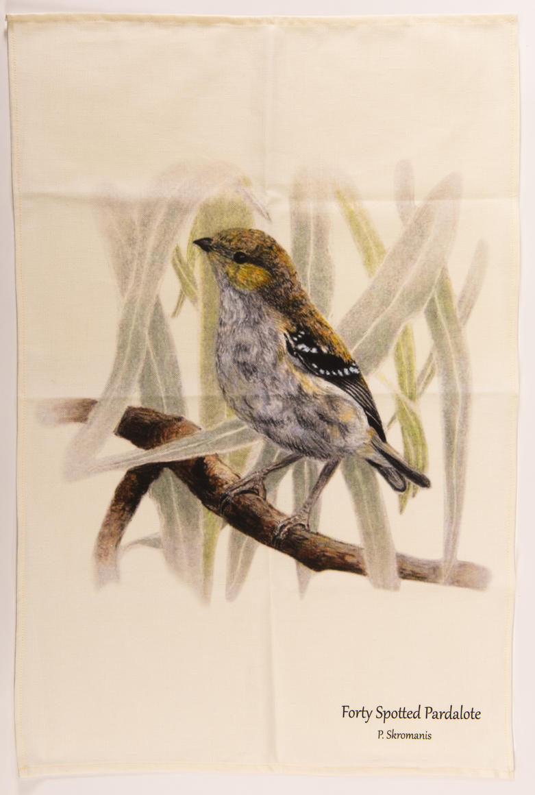 Tea Towel - Forty-Spotted Pardalote   Trada Marketplace