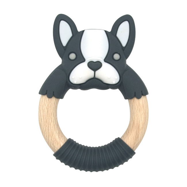BibiBaby Teething Ring - Boxer Frenchie - Charcoal and White   Trada Marketplace