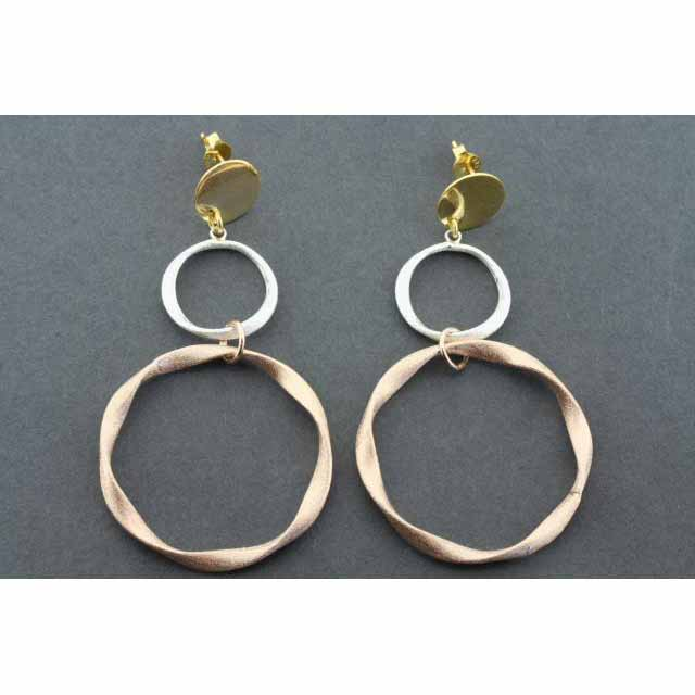 2 folded circle drop earring - rose gold & gold plated | Trada Marketplace