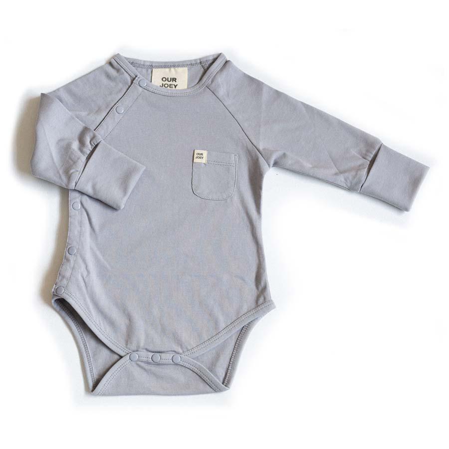 Organic Long-sleeve Bodysuit - Light Grey | Trada Marketplace