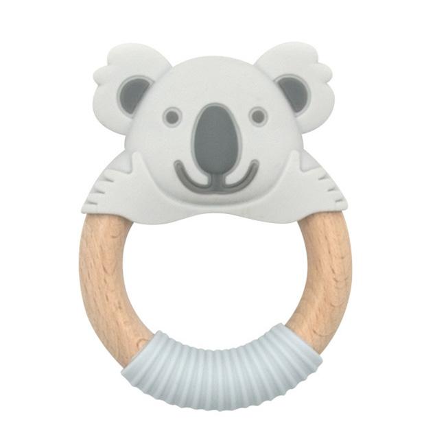 BibiBaby Teething Ring - Blinky Koala - Grey and Grey   Trada Marketplace