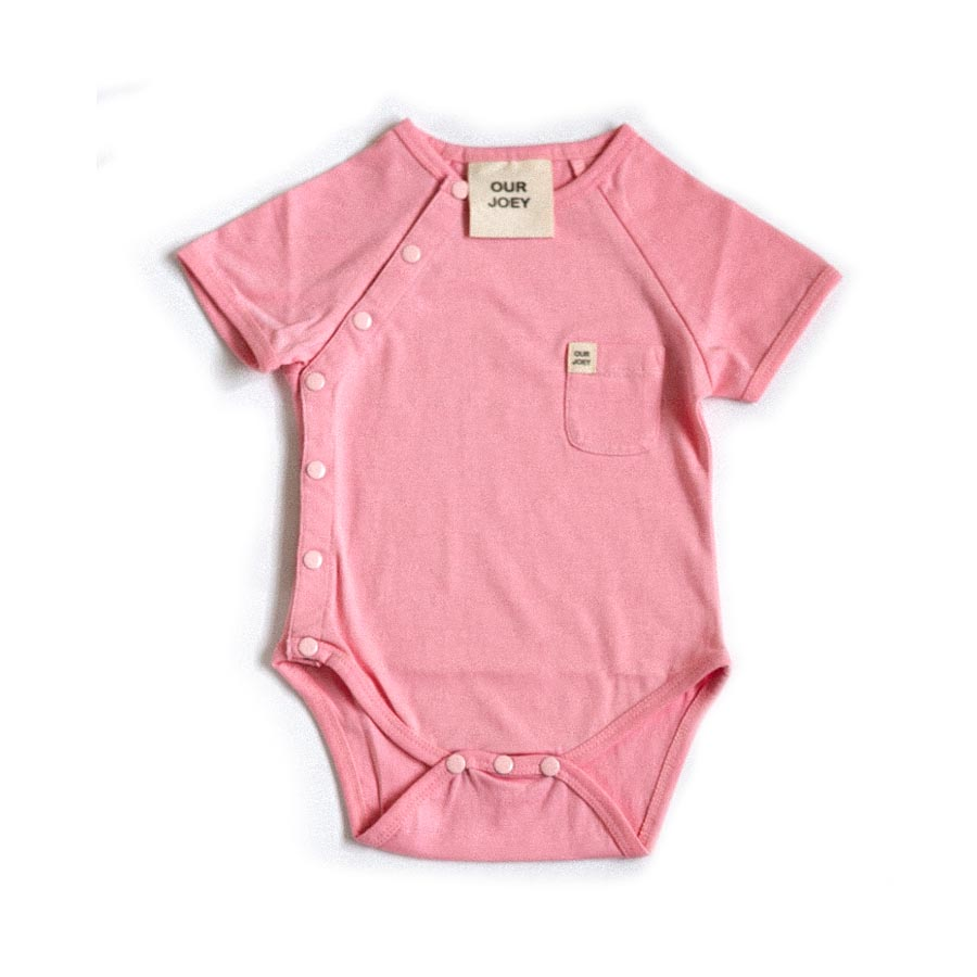 Organic Short-sleeve Bodysuit - Coral Blush | Trada Marketplace