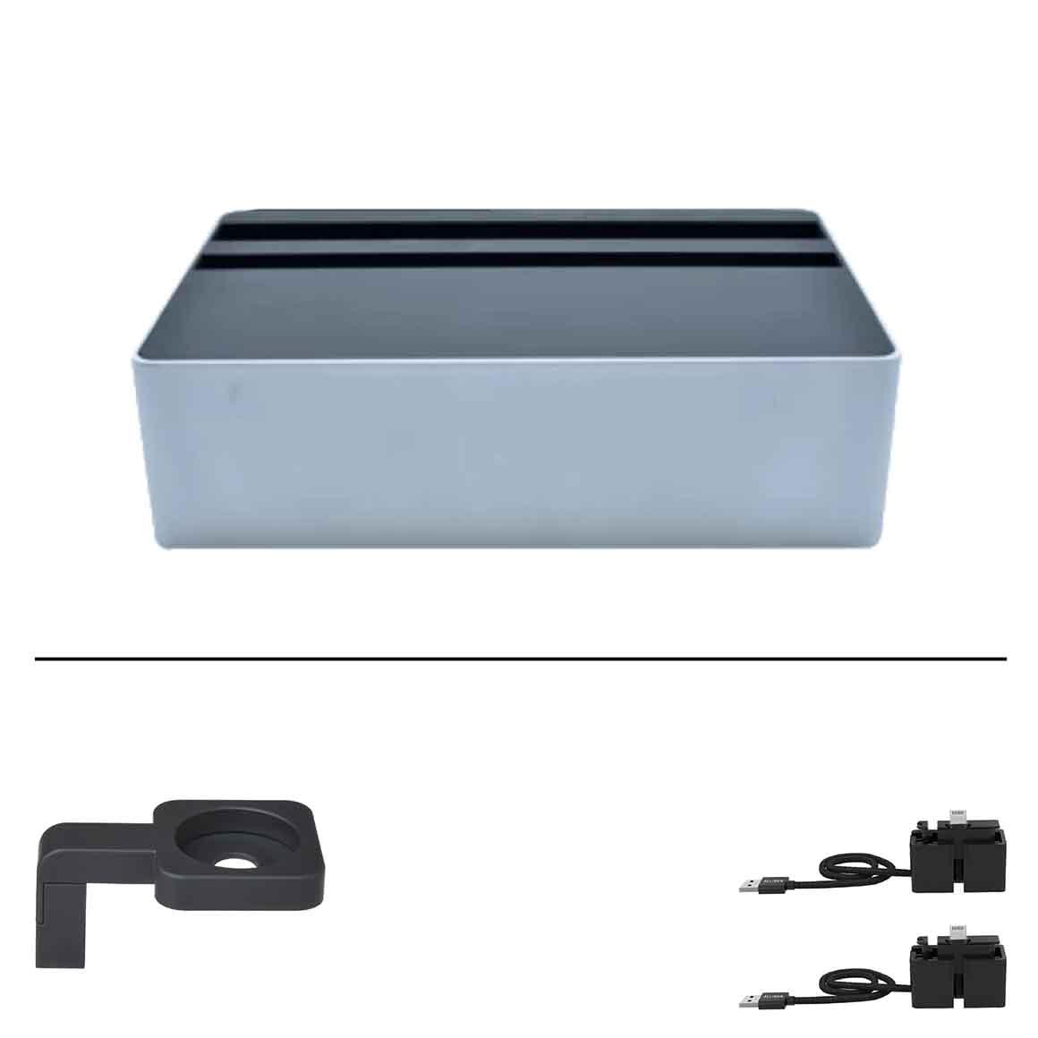 ALLDOCK - Medium Apple Package - HybridX Compact Silver Alu/Black + 2x MFi Cable + Black Apple Watch Mount   Trada Marketplace
