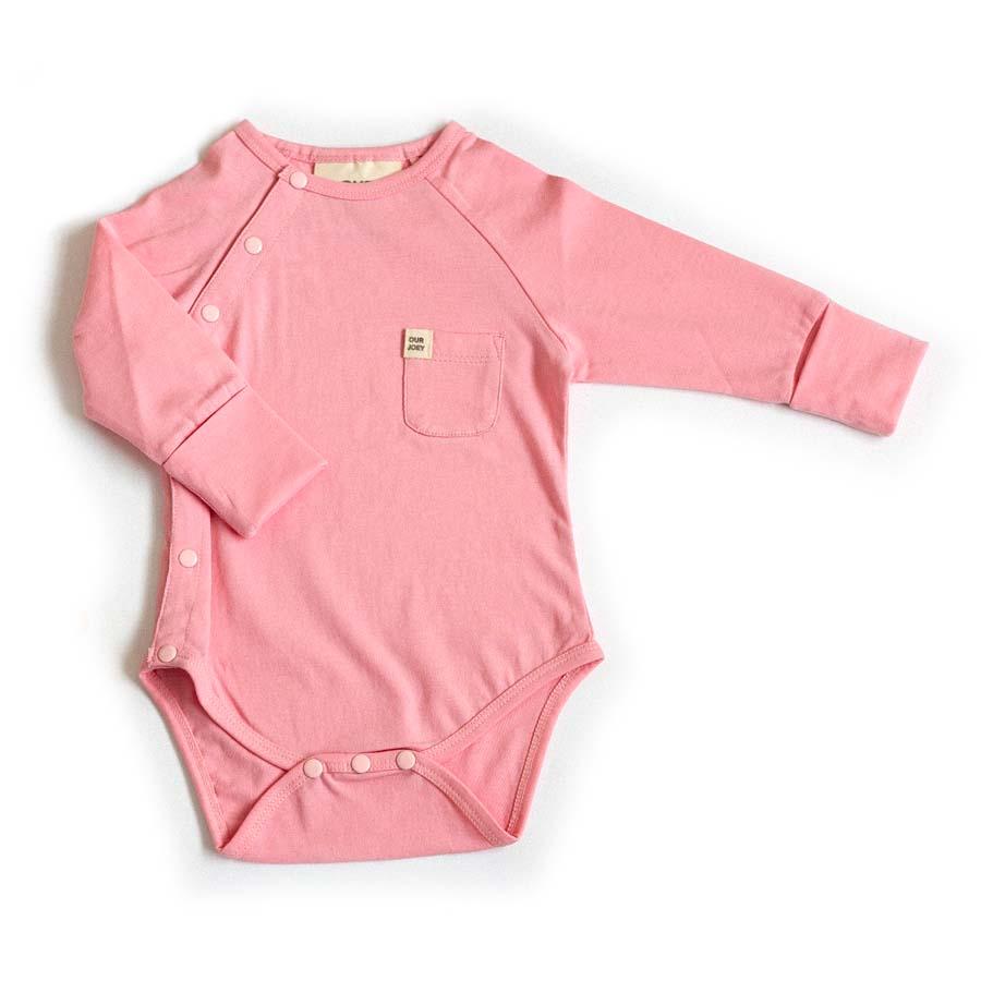 Organic Long-sleeve Bodysuit - Coral Blush | Trada Marketplace